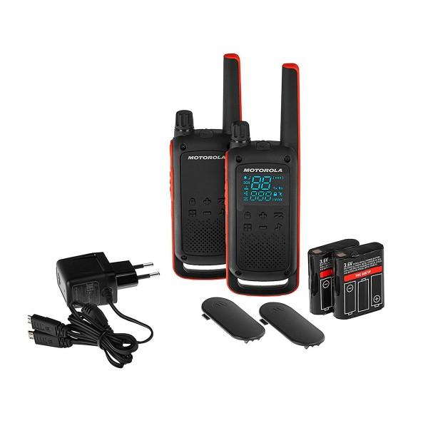 Motorola t82 negro naranja pareja walkie talkies 10km resistencia ipx2 linterna led 16 canales 121 códigos de privacidad
